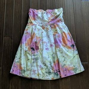 J. Crew Strapless Floral Dress with pockets